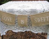 Burlap Here Comes The Bride Banner Rustic Wedding Sign. $19.95, via Etsy.