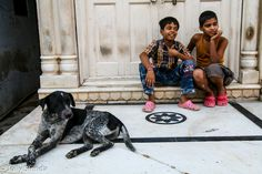A dog and children enjoy a sense of humor, Pushkar, India. Photo by Jolly Sienda Photography.