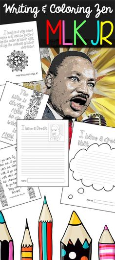 "This Martin Luther King, Jr. appreciation set includes seven quote coloring pages and seven variations of an ""I Have a Dream"" writing template. Students will be inspired to write, draw, or list facts about Dr. Martin Luther King, Jr. They will also be able to color zentangles and quotes for stress relief while learning."