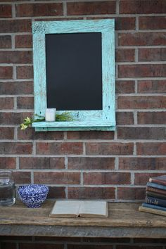 Reclaimed Barn Wood Chalkboard with a Shelf ... Etsy. Like our Facebook page! https://www.facebook.com/pages/Rustic-Farmhouse-Decor/636679889706127