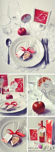 CZERWONA ELEGANCJA -winietki, menu, plan dodatki ślubne