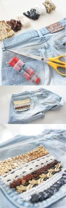 Using scrunchies and bracelets to embellish jean pockets