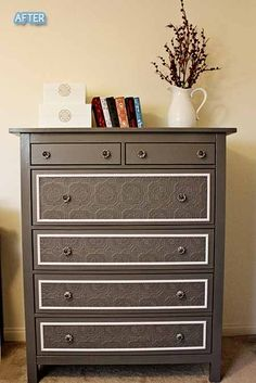 Dresser re-do. Modge podge lace onto the front of the drawers then paint over the top.