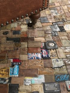 Kings of Sweden Recycled Jean Labels Carpet: Scandinavian design company Kings of Sweden has just released this recycled patchwork Jean Labels Recycling, Denim Ideas, Denim Crafts, Fabric Labels, Leather Label, Trash To Treasure, Recycled Denim, Recycled Leather, Rug Making