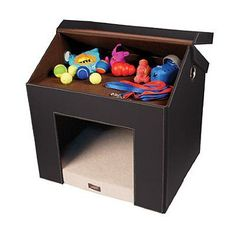 indoor dog house with toy storage small dogs. Love it!