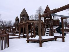 McCormick Park - Williamston MI   Large wood play ground for older kids. Separate area for toddlers - both fenced in separately. Large field for playing/events. Paved paths around park and along river for walks. Dog friendly, except for play ground area.