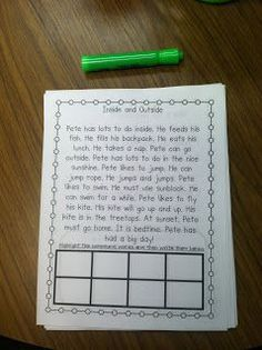 Highlight a word (phonics skills) with decodables...on the backside are comprehension questions about what they read.