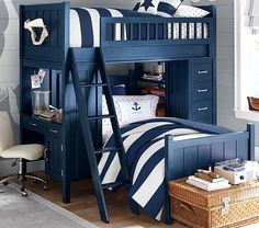 Bunk beds are great for siblings and sleepovers. Shop Pottery Barn Kids' bunk beds and loft beds for kids with functional and sturdy styles. Bunk Beds With Stairs, Kids Bunk Beds, Loft Beds, Bed Sets, Pottery Barn Kids, Playhouse Loft Bed, Modern Bunk Beds, Bunk Bed Designs, Loft Spaces
