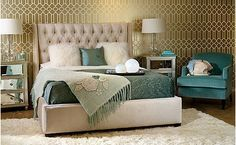Champagne and subdued teal - general colors for my bedroom. Love the headboard