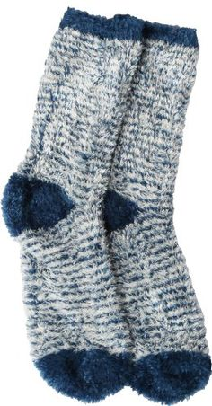 Soft and Warm Microfiber Fuzzy Socks in Navy/White by Foot Traffic