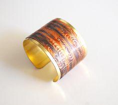 Cuff Bracelet Solid Brass Bracelet with by ferozasjewelery on Etsy, $48.00
