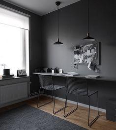 D A R K #design  #dark #grey #black #Nordic #decor #style #shadesofgrey #home #desk #office #lights #timber #interior #interiores #interiordesign #interiordecor #interiorstyling by lets_talk_design