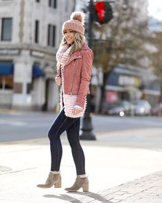 Styled Adventures: Color Crush: All Things Blush  Tennessee, Blush Everything, Suede Jacket, Pink Chunky Scarf, Booties, Dark Denim
