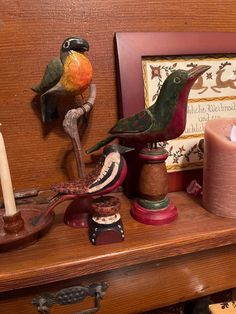 The two birds on the left are by Gary Rosborough. The green and red bird on the right is created by Jim Murphy. Two Birds, Wood Carvings, Folk Art, Two By Two, Traditional, Green, Painting, Wood Sculpture, Wood Carving