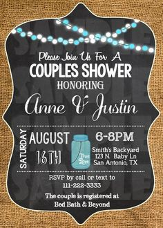 Couples Shower Invitation - Burlap And Chalkboard Invitation Printable (Digital File Only)