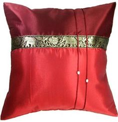 Artiwa 16x16 Red Couch Decorative Silk Accent Pillow Cover  Thai Elephants -- Want additional info? Click on the image.-It is an affiliate link to Amazon. #DecorativePillowsInsertsCovers