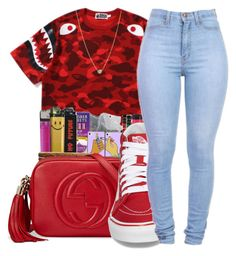 """""""‼️"""" by kakoproduction ❤ liked on Polyvore featuring A BATHING APE, Gucci, Vans, ZoÃ« Chicco, red and bape"""