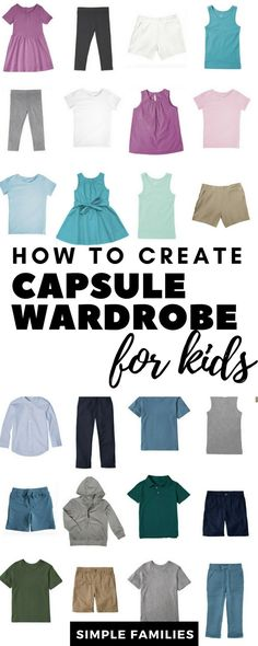 to Create a Basic Capsule Wardrobe for Kids Kids capsule wardrobe. I'm not restricted to these colors but just that it's both girls and boys and you can mix and match anything.Just Just may refer to: Kids Fashion Boy, New Fashion, Girl Fashion, Fashion Tips, Fashion 2015, Toddler Fashion, Fashion Clothes, Fashion Ideas, Fashion Outfits
