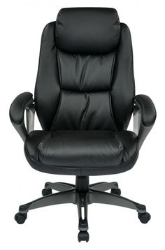 Office Star Executive Bonded Leather Chair with Padded Arms Headrest and Coated Base Feturing Coil Spring Seating Comfort High Back Office Chair, Black Office Chair, Office Chair Without Wheels, Swivel Office Chair, Yellow Office, Antique Wooden Chairs, Contemporary Office Chairs, Executive Office Chairs, Bonded Leather