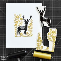 Andrea Lauren: Back in my printmaking studio carving and hand printing this happy deer in two-colors. Happy to get through the recent rush of holiday orders; thanks so much for your support! Stamp Printing, Screen Printing, Stencil, Lino Art, Linocut Prints, Art Prints, Block Prints, Stamp Carving, Handmade Stamps