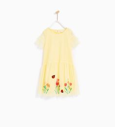 Image 1 of TULLE DRESS WITH EMBROIDERED HEM from Zara