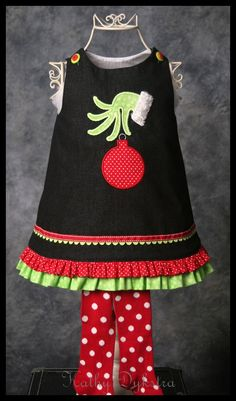cute applique, and some ruffles would extend the wear-ability of Katie's black cord jumper. Christmas Applique, Christmas Sewing, Little Girl Dresses, Girls Dresses, Girls Frocks, Baby Dresses, Sewing Clothes, Doll Clothes, Girlie Clothes
