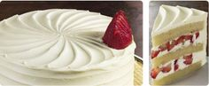 Strawberries and Cream  Fresh strawberries are paired with layers of fluffy, vanilla cake. Real vanilla extract richly flavors the buttercream that robes this beautiful, popular cake.