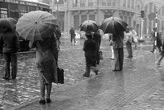 Hildegard Rosenthal, Umbrellas along Avenida São João, São Paulo, Brazil, 1940's