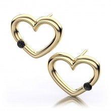Diamond Earrings For Her. Black Diamond Heart shaped Earrings in 18kt Yellow Gold.