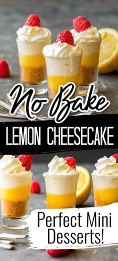 This Mini No Bake Lemon Cheesecake recipe is so easy to make, has just the right amount of tartness and is the perfect treat for spring and summer. Bite Size Desserts, Small Desserts, Mini Desserts, Easy Desserts, Delicious Desserts, Dessert Recipes, Yummy Food, Individual Desserts, Dessert Ideas