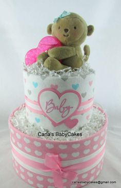 Excited to share the latest addition to my #etsy shop: Monkey diaper cake | Pink diaper cake | Baby shower decoration | Baby shower gift | Baby diaper cake | New mom gift | Baby sprinkle gift http://etsy.me/2DCz1ay #papergoods #pink #babyshower #monkeydiapercake