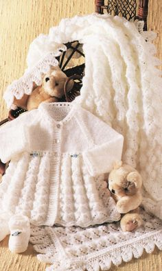 Baby Shawl, Matinee Coat and Shoes Knitting Pattern PDF instant download. To fit size 14 to 18 inch. Double Knitting or 4 ply yarn. by EdithCrafts on Etsy