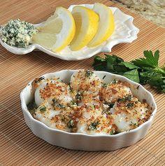 Scallop Gratins with Lemon-Garlic Bread Crumb.