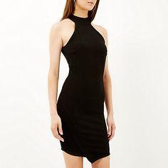 Black high neck asymmetric bodycon dress - bodycon dresses - dresses - women