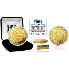 Chicago Cubs Highland Mint 2016 World Series Champions 3-Time Champs Gold Collector Coin - $34.99
