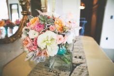 garden roses. blue. peach. peonies. wedding flowers.