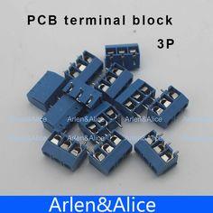 100 cái 3 Pin Vít xanh PCB Thiết Bị Đầu Cuối Block Nối 5 mét Pitch