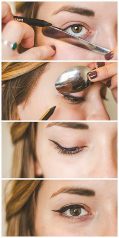 Tried and True Makeup Hacks - use a spoon to shape your winged eyeliner! { lilluna.com }