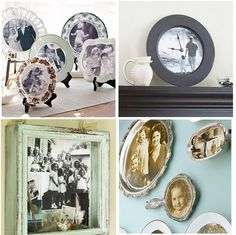 Get Crafty.  Decoupage medium is your best friend if you want to create any one of these displays.  Charm visitors with these four crafty ideas, including mounting photographs on decorative plates, making a homemade clock, spotlighting a family gathering inside a shadow box, or displaying your favorite photos on silver platters.