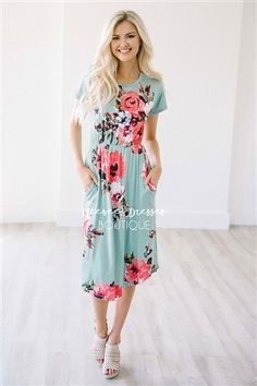 Floral Obsessed! Mint & Coral Painted Floral Dress