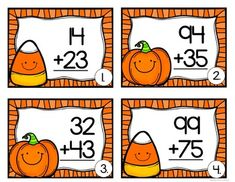 2 digit addition task cards (Halloween Theme) by Christine's Crafty Creations