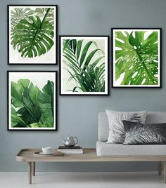 Tropical Leaves prints Set of 4, tropical wall art Palm, Banana,Monstera leave set Poster botanical art green leaves print DIGITAL DOWNLOAD