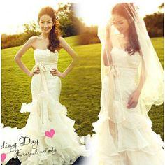 ウェディングドレス ロングトレーン 白 ドレス フィットライン 花嫁マーメイドライン オフショルダー