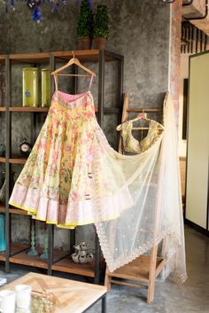 yellow floral print lehenga, yellow and pink, white, pastel, beach wedding, spring summer, elegant, girly, fresh, vintage, brides best friend