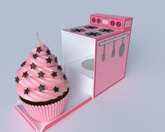 Retro oven  cupcake box cookie box candy box by WhatIsScrapbooking, $0.99