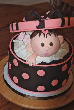 Cakesbykirsten.  Baby hatbox cake.  #babyshower#pink