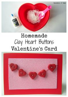 Homemade Clay Heart Buttons Valentine's Card.Easy to make Valentines Day card using just two ingredients to make the DIY clay.