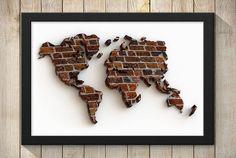 Brick Wall World World Map Print Wall Art by BubingaArtistry