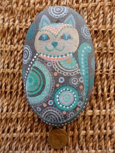 Hand painted beach stone - cat