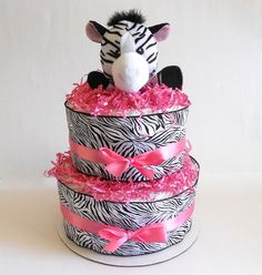 Cute diaper cake with the zebra popping out!